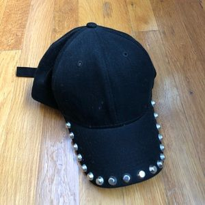 Studded Black Baseball Hat